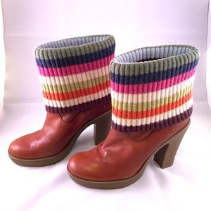 Coach Laurette Fold Over Knit Sock Leather  Boots
